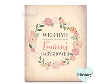 Personalized  8x10 WELCOME SIGN - Custom Wording - Vintage Peach Background Floral Wreath - Printable No.30