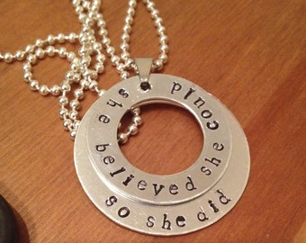 2 ring hand stamped necklace