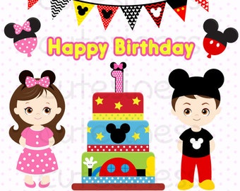 Mickey Mouse Birthday Party Clipart, Mickey Mouse Clipart, Minnie Mouse Clipart