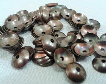 200 Pcs Copper Plated  8 mm Round Cambered Bead Caps , Copper  Bead Caps