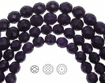 12mm (34pcs) Deep Tanzanite, Czech Fire Polished Round Faceted Glass Beads, 16 inch strand