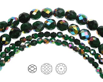 4mm (102pcs) Emerald Vitrail coated, Czech Fire Polished Round Faceted Glass Beads, 16 inch strand