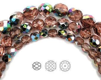 10mm (41pcs) Rosaline Vitrail coated, Czech Fire Polished Round Faceted Glass Beads, 16 inch strand