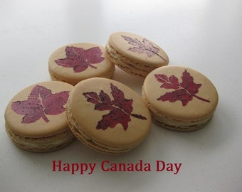12 large canada day macarons, canada day,natural macarons, french macarons, ottawa macarons, order macarons online, canada day favors,
