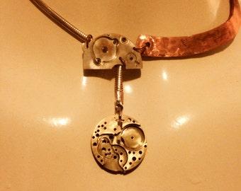 Steampunk Collar-Length Watch Parts Moon Drop Necklace