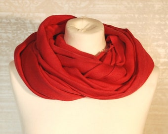 90s Vtg Coral Red Modern Scarf Minimalist Simple Neckwarmer Spring Collection Scarf Interesting Gift