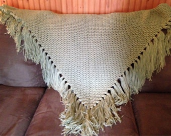 Crocheted Shawl in sage green