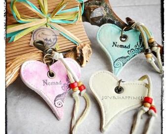 Love,Heart,Leather Charm 01 WHITE, NomadWorld.