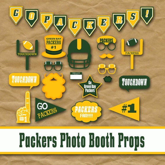 Green Bay Packers Football Printable Photo Booth Props