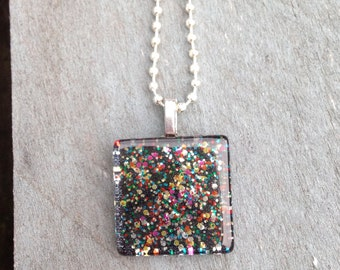 """1"""" x 1"""" Glass Tile Pendant Necklace"""