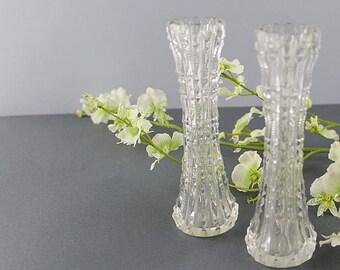 Pair of Cut Crystal Bud Vases, Glass Bud Vase, Pair of Vases