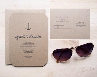 rustic kraft wedding invitation // THE ANCHOR // simple calligraphy // nautical anchor design // modern font // DEPOSIT