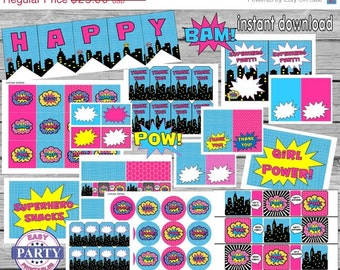 SALE Instant Download Superhero Party Package, Save 80% with this bundle, superhero girl party, pink and aqua, supergirl, toppers