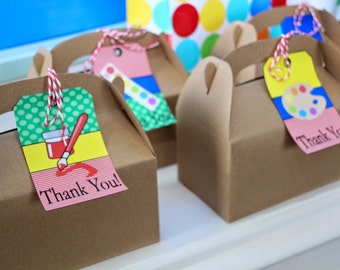 Art Party Favor Tags, Instant Download, Coordinating items are available for purchase, artist party, paint party, children birthday, DIY