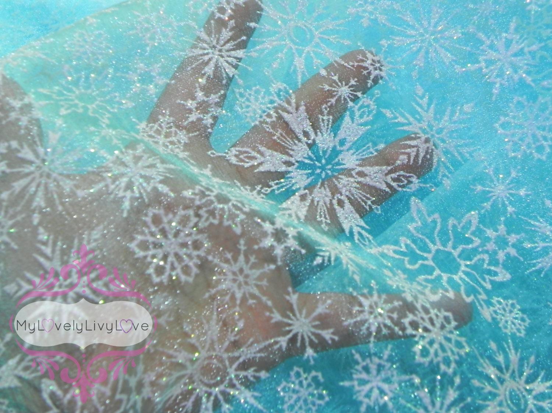 Snowflake Fabric Elsa Frozen Aqua Blue With White