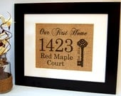 Our First Home, Personalized Housewarming Gift, Burlap Sign, Home Established, House Warming Gift, Burlap Print, Eco Friendly Home Sign