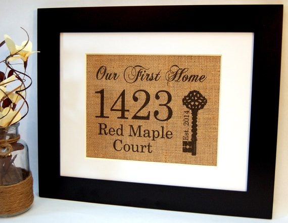 Our first home personalized housewarming gift by busybeeburlap House warming present
