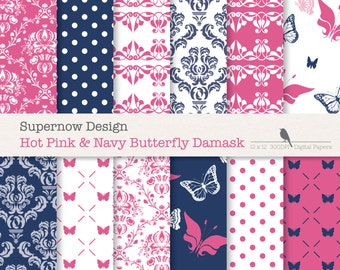 "40% Off Pink and Navy Damask Digital Paper Pack. ""Hot Pink & Navy Butterfly Damask"" Scrapbooking. Invitations. INSTANT download"
