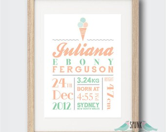Ice Cream Nursery Birth Stat Print