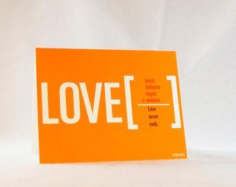 Love endures greeting card