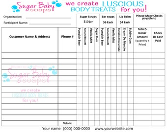Customized Fundraiser order form--digital file only--customize with your information & company