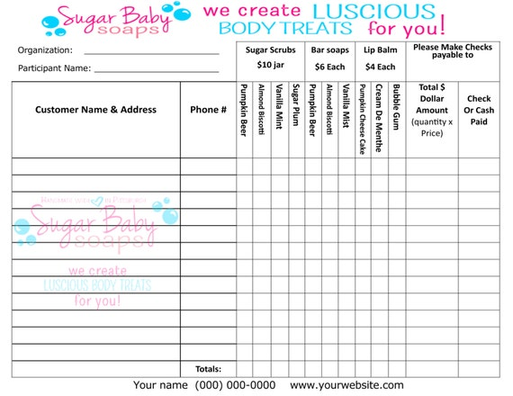 Customized Fundraiser order form--digital file only--customize with ...