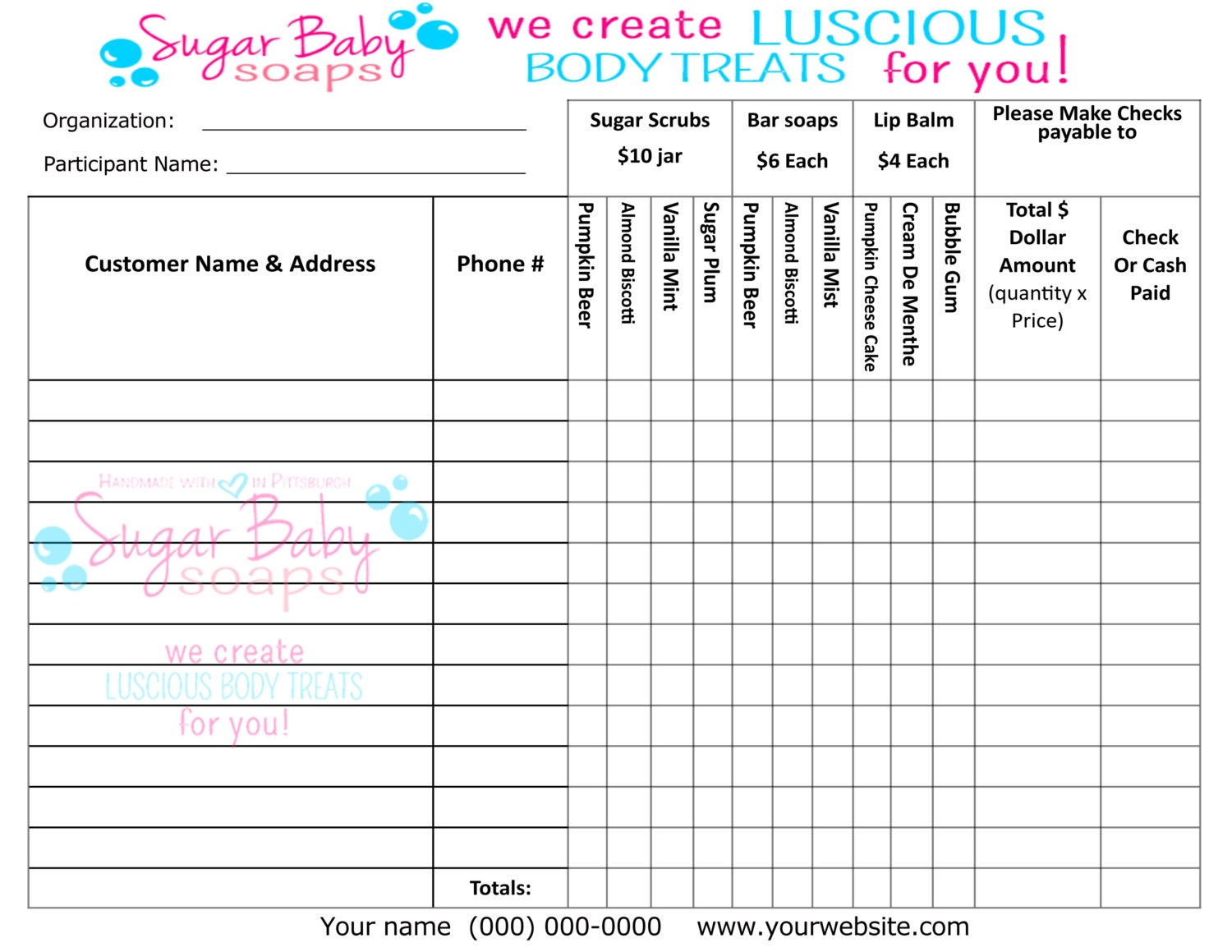 Customized Fundraiser order formdigital file onlycustomize