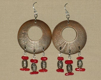 Dangle Earrings of Wood, Stone and Metal