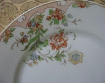 Vintage Porcelain Handpainted Dessert Plate TK Thuny Czechoslovakia Pale Peach Colors Floral Pattern 1930's
