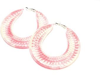 Handmade Earrings, Crocheted Hoops 70mm, Silver Plated, Round Dangle Earrings, Pink, Party Girl, Beach Fashion, Summer Heat