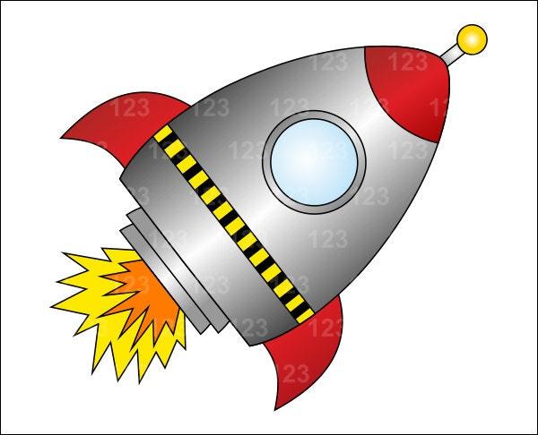 Red Rocket Spaceship Single Digital Clip Art 1 PNG By