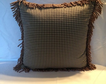 Blue and Taupe Fringe Dot Pillows