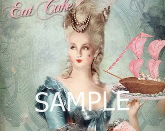 Marie Antoinette  *Let them eat cake* Fabric Block  14-0173- FREE SHIPPING