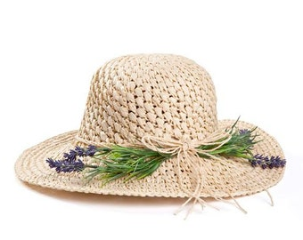 Straw hat , Hats for women , Wide brim hat decorated with lavender , Gift for her