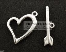 Free Shipping - 7sets Silver T Bar&Toggle Clasps Charms Pendants Connectors PND-592