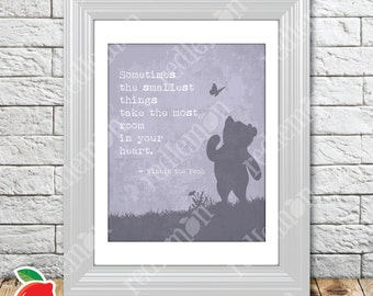 The Wisdom of Pooh Sentiment Nursery Print Purple