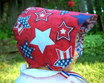 Reversible Patriotic Bonnet, Sparkle Stars + Chevrons, 6-12 months, ready to ship