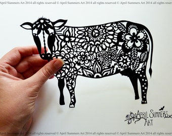 COMMERCIAL Mrs Cow Digital DIY Papercutting File Paper Cutting Template