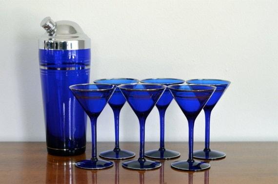 Vintage Martini Glasses Cocktail Shaker Cobalt Blue Cocktail