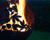 Fire Sphere 900mm Sculptural Fire Pit ''Leaf'' Design by Craftsmen in Metal J.W & A.J Barrett Ltd.