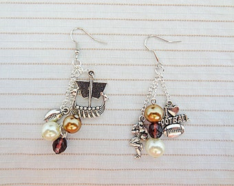 FOOTBALL EARRINGS, football jewelry, football charm, charm earrings, charm jewelry, sports earrings, sports jewelry, football player, - 0190