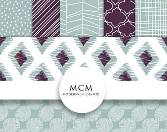 Hand-Drawn Digital Paper Pack Modern purple blue Patterned Designs  Scrapbook Website Background Design Instant Download Commercial Use