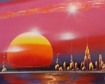 SUNSET - Spray Paint Art - (22 in x 14 in) Space Painting
