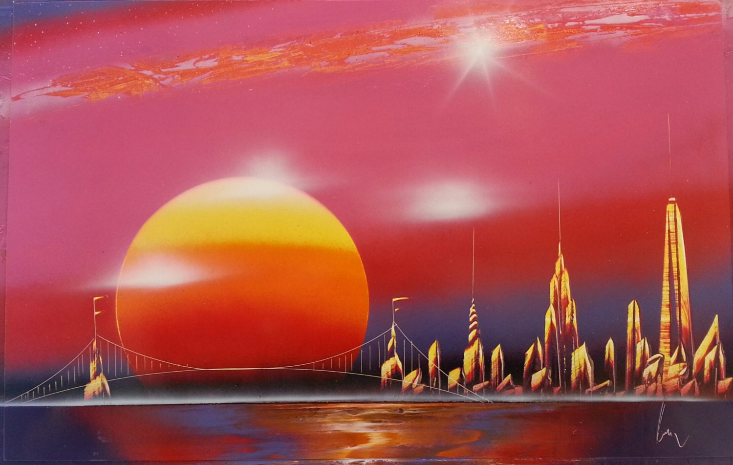 Sunset Spray Paint Art Space Painting