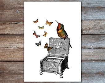 bird music box, hummingbird with butterflies art