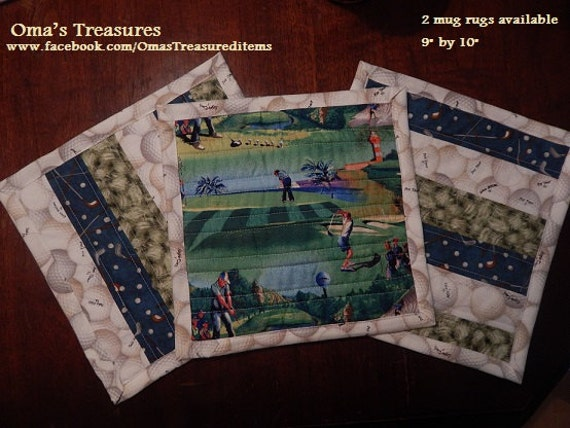 Items Similar To Golf Themed Mug Rugs On Etsy