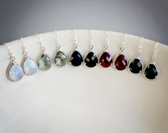 Crystal Drop Earrings Silver Earrings Moonstone Earrings Grey Earrings Black Earrings Emerald Earrings Fuchsia Earring Dangle Earrings Green