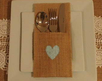 6 Burlap / Hessian cutlery holder with heart