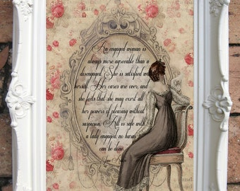 Jane Austen Quote Print. Mansfiled Park Quotes. Regency Fashion. Shabby chic. Wall decor. Literary Quote.Literary print. Code: JA01