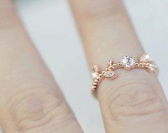 18K Rose Gold zirconia Flower vine Ring